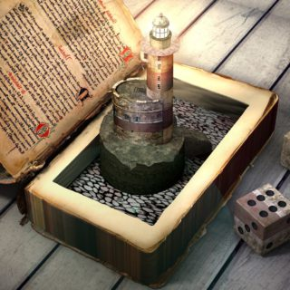 Ein offenes altes Buch mit einem kleinen Leuchtturm und antiken Würfeln auf Holzplanken.